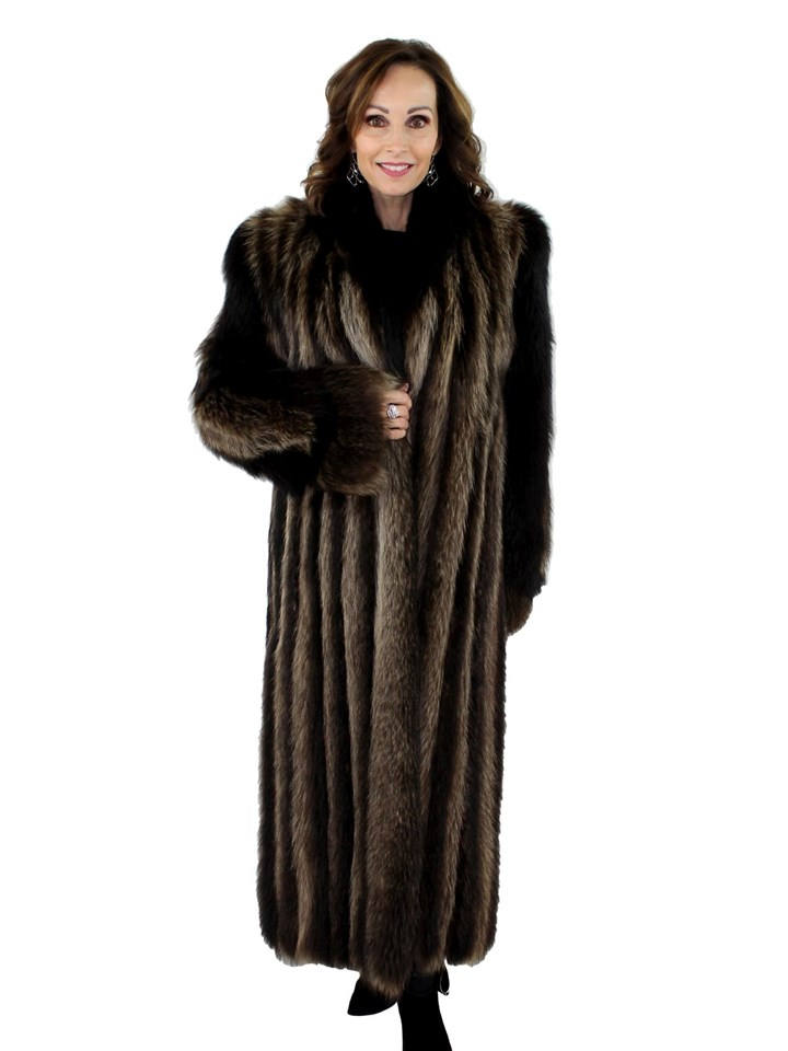 Woman's Natural Raccoon Fur Coat with Black Fox Fur Trim