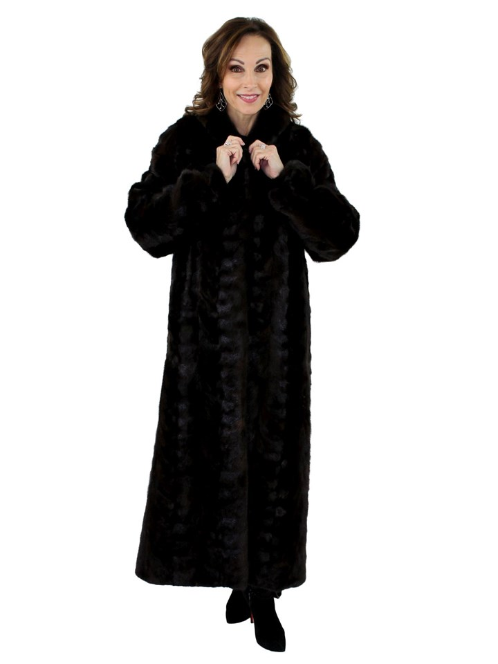 Woman's Dark Mahogany Mink Fur Section Coat