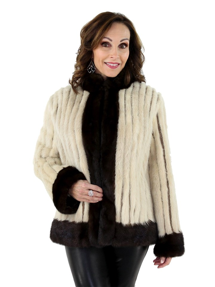 Woman's Cord Cut Tourmaline Mink Fur Jacket with Mahogany Mink Fur Trim