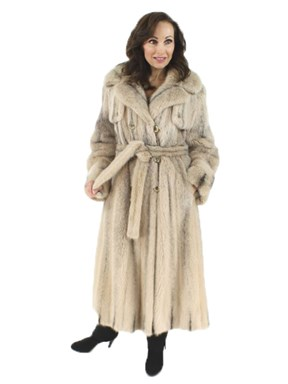 Woman's  Cross Mink Fur Classic Trench Coat