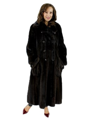 Woman's Double Breasted Mahogany Female Mink Fur Coat