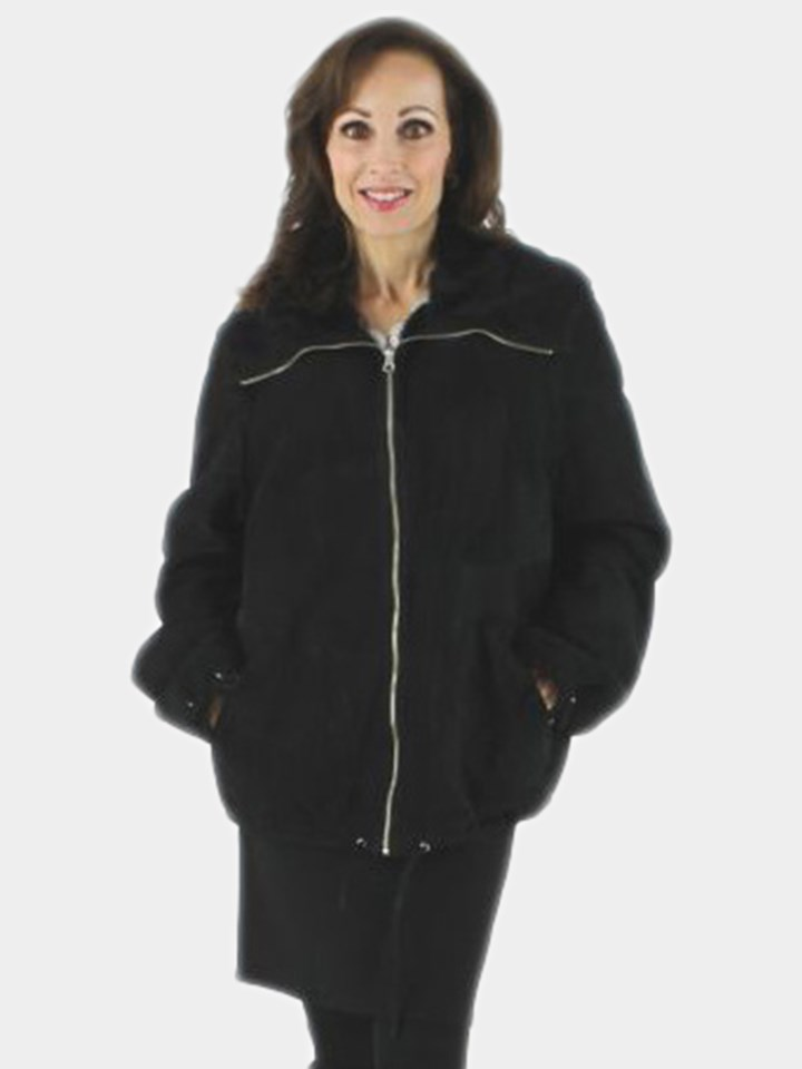 Woman's Sporty Black Shearling Sectional Jacket