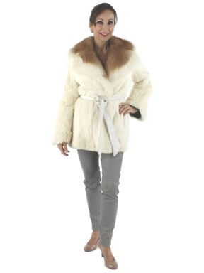 Woman's White Rabbit Fur Jacket with Contrasting Collar