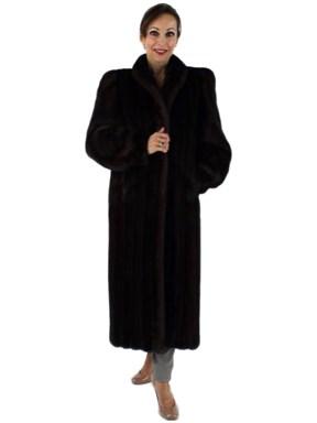 Woman's Petite Full Length Mahogany Mink Fur Coat
