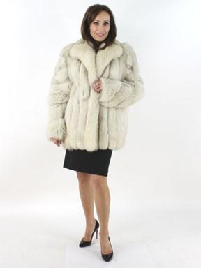 Beautiful Blue Fox Fur Jacket with Diagonally Designed Sleeves