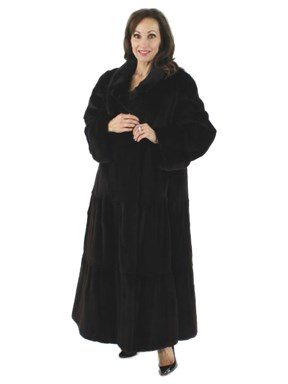 Oh so Feminine Tiered Black Sheared Mink Full Length Coat