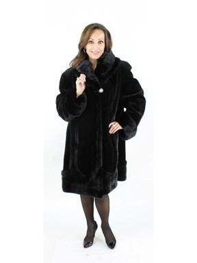 Black Sheared Mink 7/8 Coat