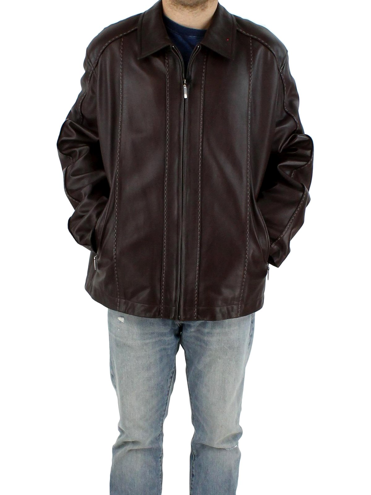 Lamb Leather Jacket Men S Xlarge Brown Estate Furs