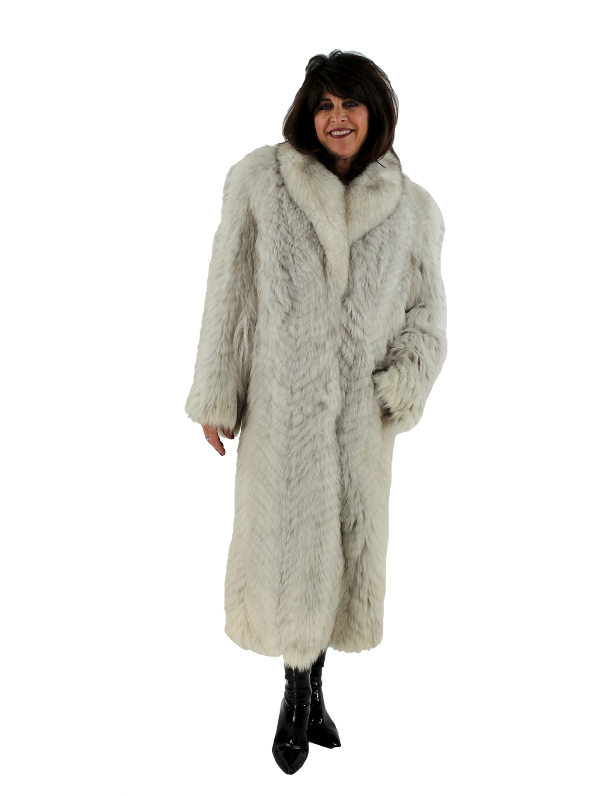 cheap for sale clients first newest style Natural Blue Fox Fur Coat - Women's Fur Coat - Small| Estate Furs