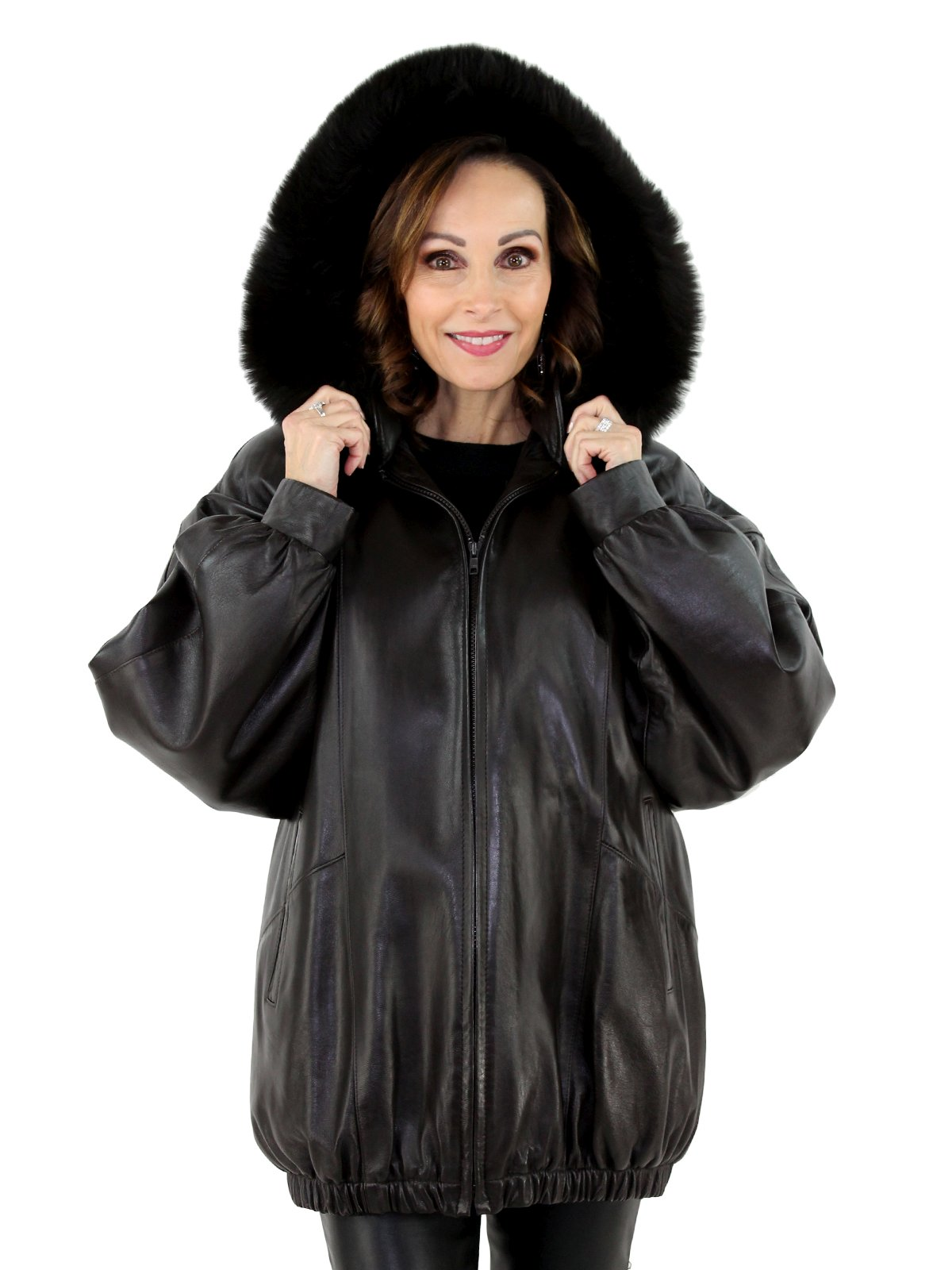 f03a14df5009 Brown Leather Parka with Fox Fur Trimmed Detachable Hood - Women s ...